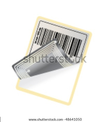 barcode with RFID chip (vector)