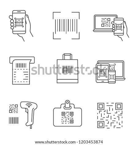 Barcodes linear icons set. Smartphone barcode scanning app, linear code, ATM cash receipt, shopping bag, scanner, id badge, using QR codes. Isolated vector outline illustrations. Editable stroke