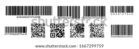 Barcodes. QR code product identification mark, price tag for laser scan, retail number code. Vector scanning unique stripped barcode symbols set