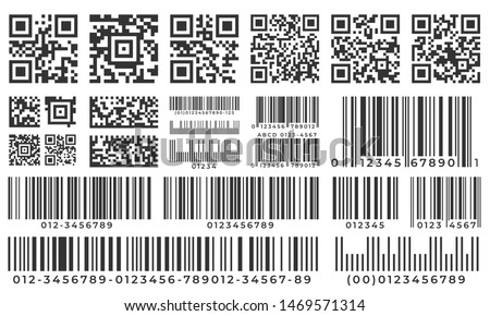 Barcodes. Scan bar label, qr code and industrial barcode. Product inventory badge, codes stripe sticker and package bars. Supermarket scanning barcode sign. Isolated vector icons set