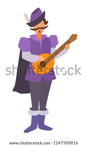 Bard stands in a cloak with a lute. Role-playing stylized game image without face. Flat cartoon design. Realistic body proportions. Vector simple style illustration isolated on white background.