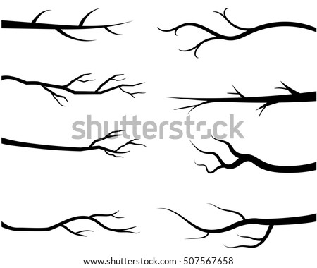 Shutterstock Bare tree branch silhouettes, Vector black branches without leaves