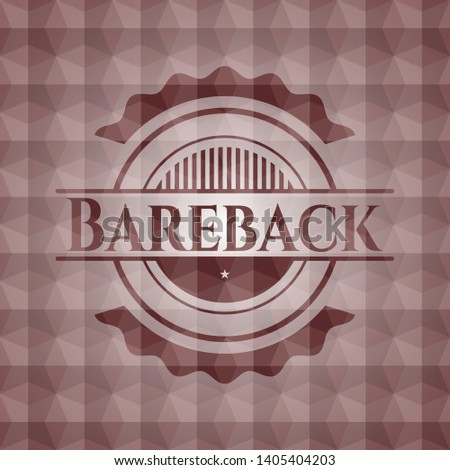 Bareback red emblem with geometric pattern background. Seamless.