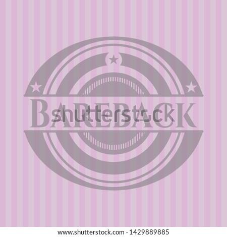 Bareback vintage pink emblem. Vector Illustration. Detailed.