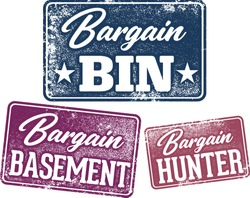 Bargain Bin Retail Sale Promotion Stamps