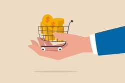 Bargain business deal for buyer and seller, best price shopping, stock for investor or consumer and marketing concept, dollar gold coins in shopping cart or trolley in businessman hand.