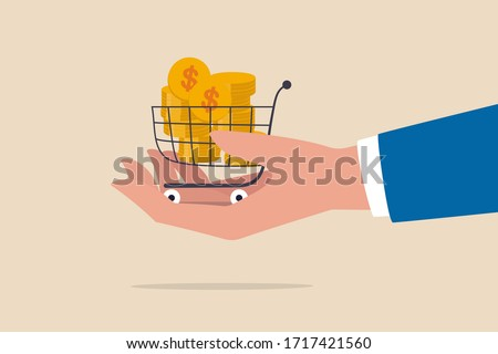 Bargain business deal for buyer and seller, best price shopping, stock for investor or consumer and marketing concept, dollar gold coins in shopping cart or trolley in businessman hand. ストックフォト ©