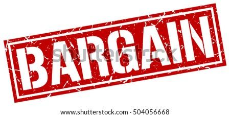 bargain. grunge vintage bargain square stamp. bargain stamp. ストックフォト ©