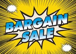 Bargain sale banner illustration. Focus Line, Radiation Background and American Comic Taste Design