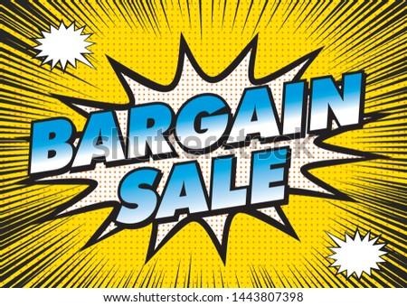 Bargain sale banner illustration. Focus Line, Radiation Background and American Comic Taste Design ストックフォト ©