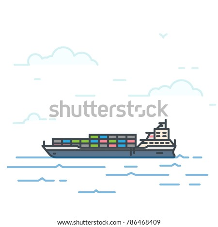Barge ship with containers and boxes in the sea. Trendy line vector illustration. Big boat on water. Oceanic ship transportation concept. Water transport.