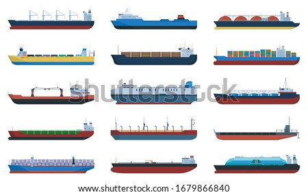 Barge vector cartoon set icon. Vector illustration cargo ship on white background. Cartoon set icon barge . Imagine de stoc ©