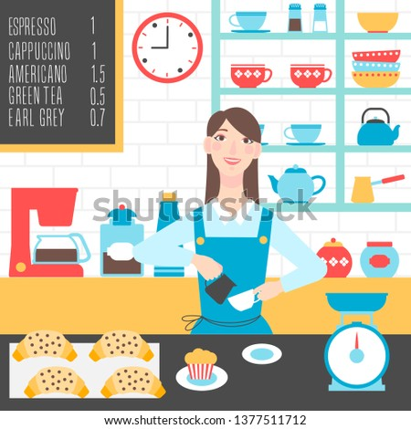 Barista at coffee shop making a cup of coffee. Vector cartoon illustration
