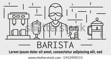 Barista coffee banner. Outline illustration of barista coffee vector banner for web design