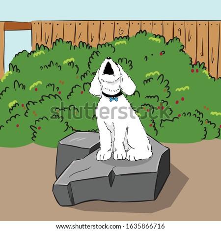 barking dog on stone in garden vector