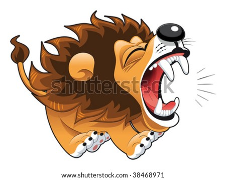 Lion Cartoon Characters on Stock Vector   Barking Lion  Funny Cartoon And Vector Character