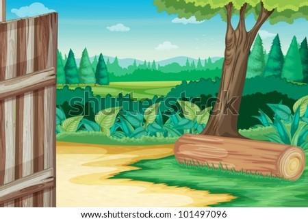 Barn door open at farm scene