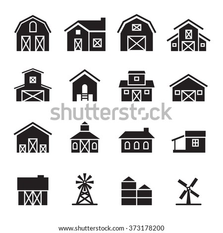 barn   farm building icon set
