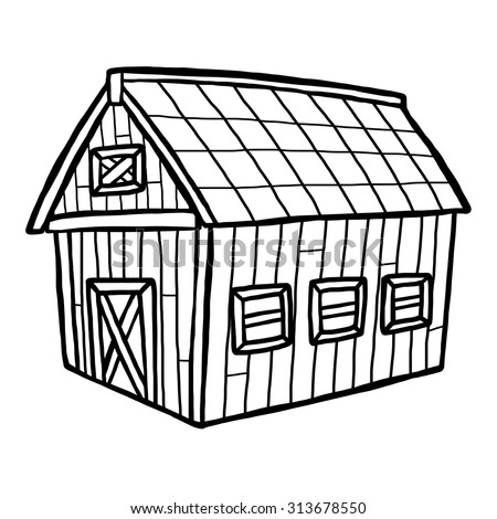 barn house / cartoon vector and illustration, black and white, hand drawn, sketch style, isolated on white background.