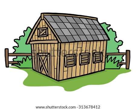 Barn House Cartoon Vector And Illustration Hand Drawn Style