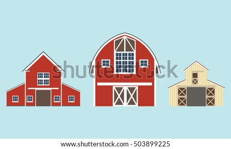Barn Icon Set Vector Illustration Of Red Farm House