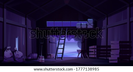 Barn on farm with harvest, straw and hay at night. Vector cartoon interior of old wooden shed with haystack on loft, ladder, fork, bags and pumpkin. Empty rural barnhouse for storage harvest