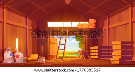 Barn on farm with harvest, straw and hay. Vector cartoon interior of old wooden shed with haystack on loft, ladder, fork, bags and pumpkin. Rural barnhouse for storage harvest Foto stock ©