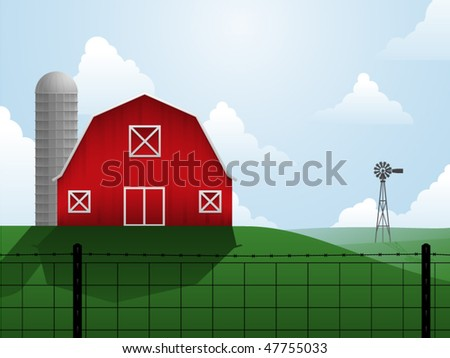 Barn, silo and windmill on an open, rolling plain - stock vector