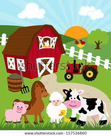 Barn With Farm Animals - Vector Illustration