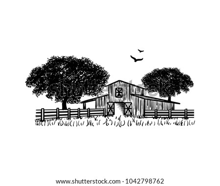 Barn with Oak tree and Flying Birds Hand Drawing Symbol Farm Logo Vector