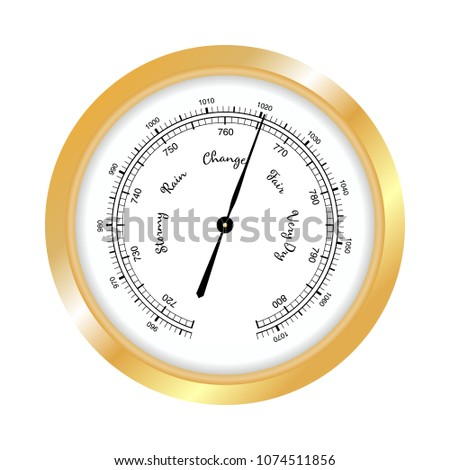 Barometer icon, vector isolated on white background. Rain and stormy, fair and very dry, change. Gold Barometer indicating atmospheric pressure change.