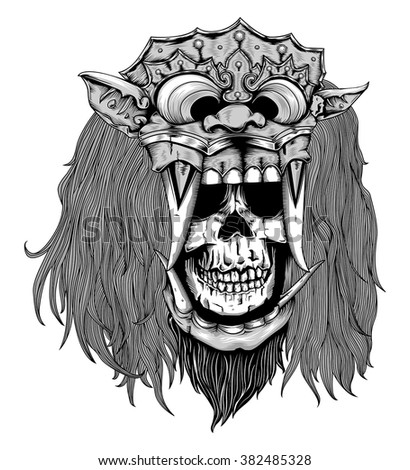 Barong Mask With Skull Head Black And Grey Ez Canvas