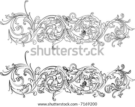 Two Baroque Calligraphy Curves Vector Illustration Tattoo