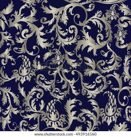 baroque damask medieval floral modern dark blue vector seamless