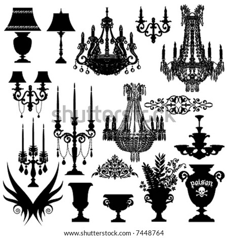 stock vector : Baroque elements, vector silhouette