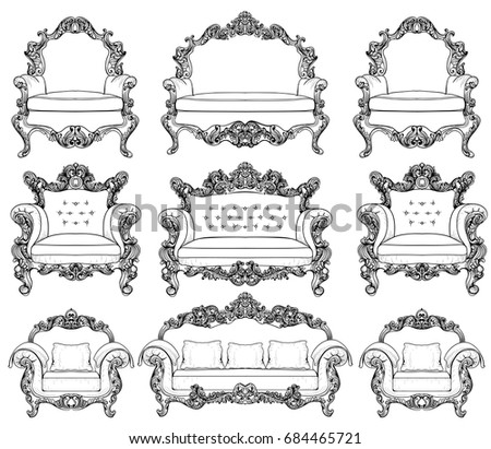 furniture set clipart black and white. baroque furniture set with luxurious ornaments vector french luxury rich intricate structure victorian royal clipart black and white c