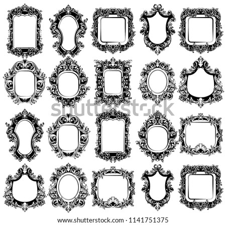 Baroque Mirror frames great set collection. Vector French Luxury rich intricate ornaments. Victorian Royal Style decors