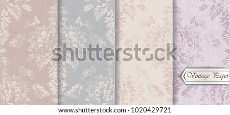 Baroque pattern trendy color texture set Vector. Royal fabric decor illustrations