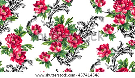 baroque pattern with bouquet of