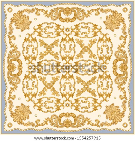 baroque print on a blue and