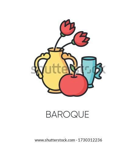 Baroque RGB color icon. Traditional 17th century European cultural movement. Vase with flowers and fruit. Classical visual art. Isolated vector illustration