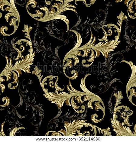 Baroque scrolls vector pattern