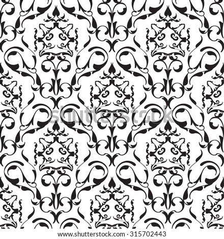 Baroque seamless art pattern on white