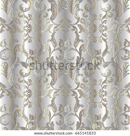 Baroque Seamless Pattern Silver Floral Damask Background Wallpaper