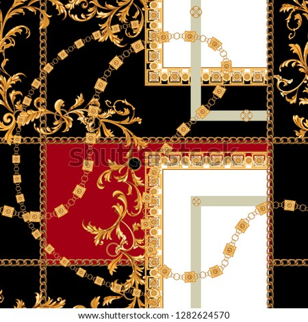 Baroque seamless pattern with chains. Vector patch for print, fabric, scarf.