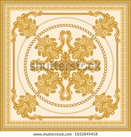 Baroque silk bandana print on a light beige background. Fashionable pattern gold chains, scrolls. Scarf, neckerchief, kerchief, silk textile patch, carpet. 7 pattern chain brushes in the palette Photo stock ©