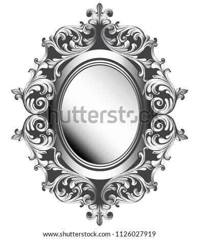 baroque silver mirror frame