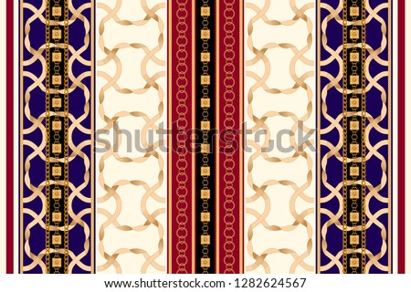 Baroque striped seamless pattern with golden ribbons and chains. Vintage patch for scarfs, print, fabric.