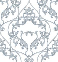 Baroque texture pattern Vector. Luxury wallpaper ornament decor. Textile, fabric, tiles. Gray colors