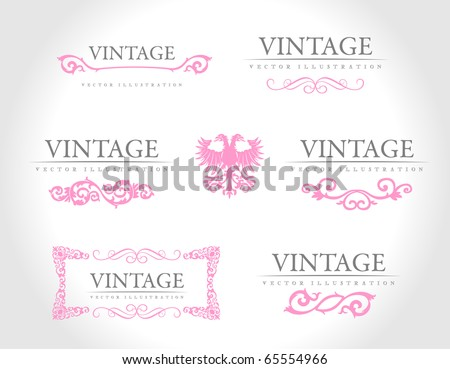 Baroque vintage royal design elements. Vector illustration. Pink design elements